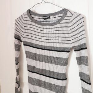 EXPRESS Grey and Black Striped Sweater
